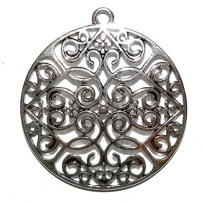 M7117 Antiqued Silver 35mm Heart Scroll Round Metal Alloy Pendant Component 4pc