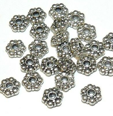 M744 Daisy Rondelle 8mm Antiqued Silver Finish Beads 24pc