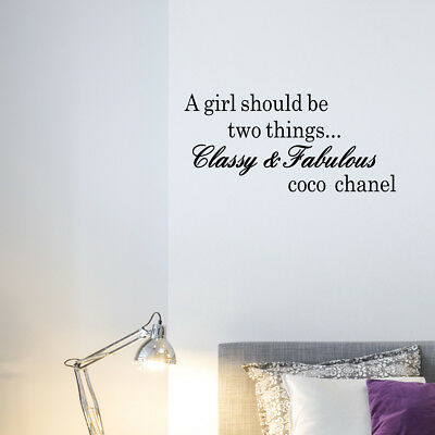 WALL STICKERS A GIRL SHOULD BE TWO THINGS...CLASSY /& FABULOUS WALL QUOTES  N47