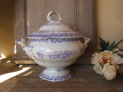 ANTIQUE FRENCH CERAMIC PURPLE FLOWER LEAVES PORCELAIN SOUP TUREEN CREIL 19Th