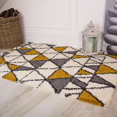 Ochre Yellow Grey Geometric Shaggy Rug Non Shed Vintage Living Room Rugs SALE