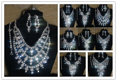 Diamante Wedding Party Prom Jewelry Set Crystal Rhinestone Necklace Ring Earring