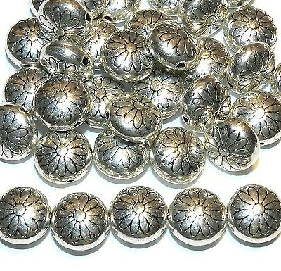 MB7141 Antiqued Silver Daisy Flower 12mm Puffed Flat Round Metal Beads 20pc