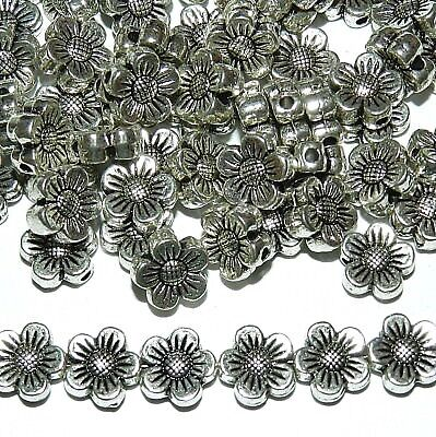 MB7140 Antiqued Silver 8mm 5-Petal Scalloped Flower Metal Spacer Beads 25pc