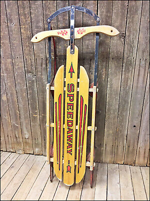 Vintage Metal Runner Snow Sled Wooden Sears Small Antique Childs