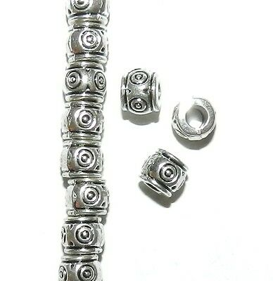 MB7207 Antiqued Silver Circle Deco Drum 6mm Large Hole Metal Beads 25pc