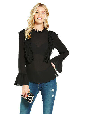 V by Very Ruffle Crinkle High Neck Blouse