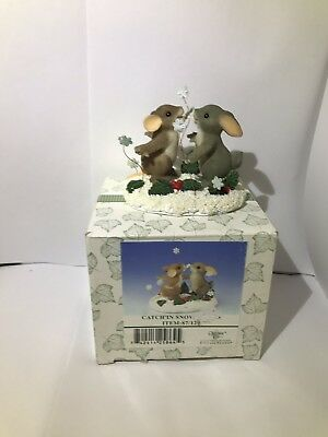 NIB Fitz & Floyd Charming Tails CATCH'IN SNOWFLAKES 87/129 Limited Edition