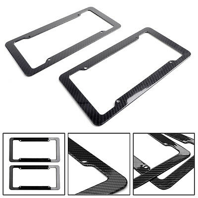 2xBlack Carbon Fiber Custom License Plate Tag Snap Fit Frame For Auto-Car-Truck