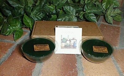Longaberger Pottery Dessert Bowl Candles Herbal Garden Blue Set of 4 New In Box