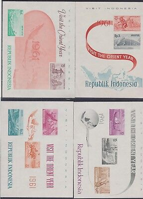 275) INDONESIA 1961 - TOURISM  4 x MINT NEVER HINGED BLOK / MINISHEETS - PERFECT