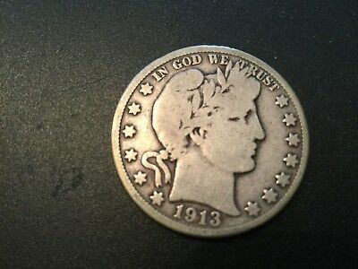 LOT # 5847  BARBER HALF DOLLAR 1913-s   VERY GOOD  CONDITION
