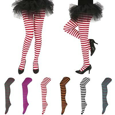 Womens Striped Holiday Tights Opaque Microfiber Stockings Nylon Footed Pantyhose