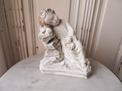 FABULOUS Old Vintage STATUE CHILD with WREATH  Sleeping CHIPPY WHITE Patina