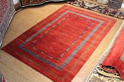 Top Quality Handmade Persian Gabbeh Design 6' x 9' Vegetable dyed red & blue rug