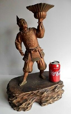 Magnificent Rare Antique Signed Japanese Samurai Warrior Lamp Base - Wooden Base