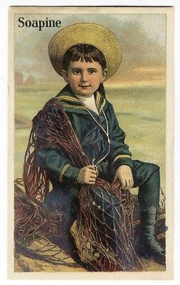 BOY Sailor Suit SOAPINE KENDALL Victorian Trade Card c 1880's Providence RI