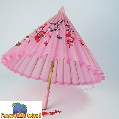 JAPANESE SILK PARASOL WOODEN HANDLE - womens fancy dress costume accessory