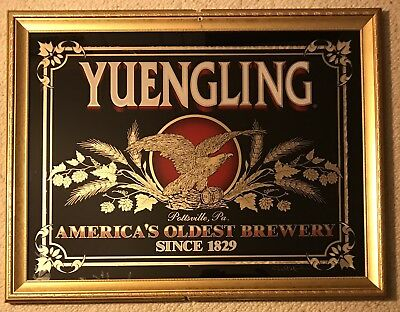 """Vintage Yuengling Beer Sign Mirror 26""""x20"""" America's Oldest Brewery Pottstown PA"""