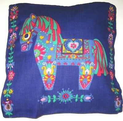 Vintage Cotton Blue Swedish Dala Horse Throw Pillow Cover Scandinavian Folk Art