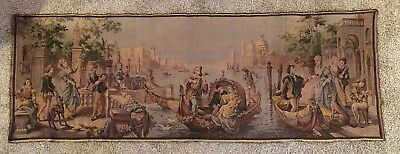 """Magnificent Large Antique Vintage French Wall Hanging Tapestry 55"""" X 20"""""""