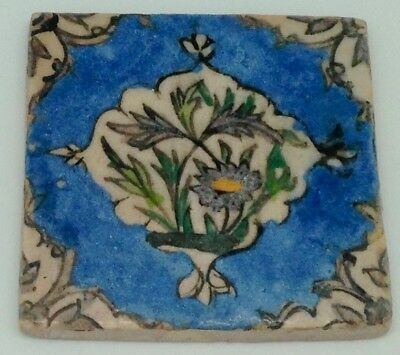 Vintage Persian Tile: Flowers in Blue Medallion w Decorative Corners 4x4 in