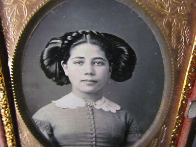 1850's young Boston African American & white young woman daguerreotype photo