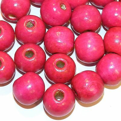 W746 Pink 20mm Semi- Round Large Wood Beads 100-Grams