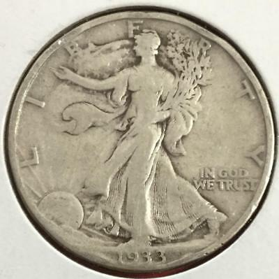 1933S US Walking LIBERTY SILVER Half Dollar! FINE! Old US Coin!