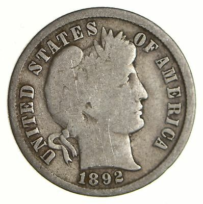 First Year - 1892 Barber Silver Dime - 90% Silver - Philadelphia Minted *179