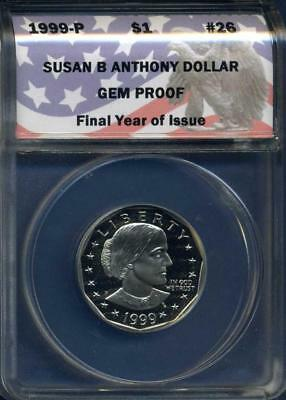 1999-P Susan B Anthony Dollar, Final Year of Issue, ANACS Gem Proof, inv#1296