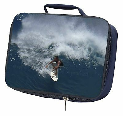 Surf Board Surfing - Water Sports Navy Insulated School Lunch Box Bag, SPO-S3LBN