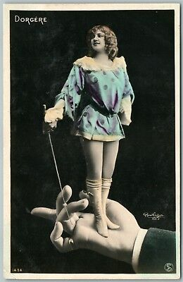 THEATER ACTOR GIRL w/SWORD on HAND PHOTOMONTAGE ANTIQUE real photo POSTCARD RPPC