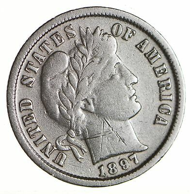 10c - Choice - 1897 - Barber Dime - Look at the Detail! *603