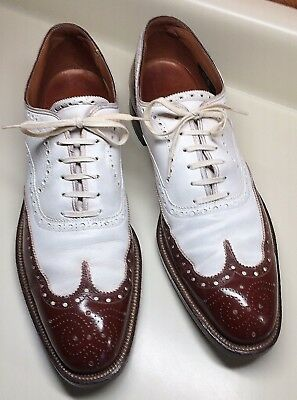 Vintage 1940s~STACY ADAMS brand MEN'S SPECTATOR WING-TIP SHOES~Size 10~JAZZ AGE