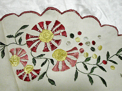 """Vintage 20s Round Tablecloth Embroidered Crewel Flowers GC 32"""" Table Topper"""