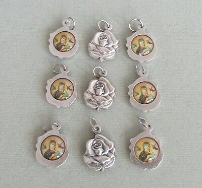 Lot 9 ROSE Charm Lady of PERPETUAL Help ITALY Holy Medals Rosary Bracelet