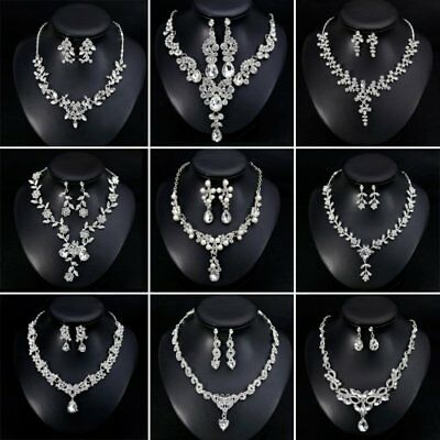Fashion Women Pearl Crystal Teardrop Flower Heart Necklace Earrings Jewelry Set