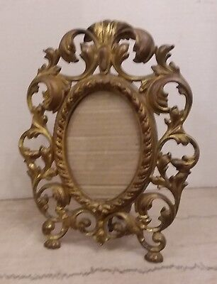 "ANTIQUE ORNATE CAST IRON ART GILDED PICTURE FRAME w/STAND  9"" x 11""'"