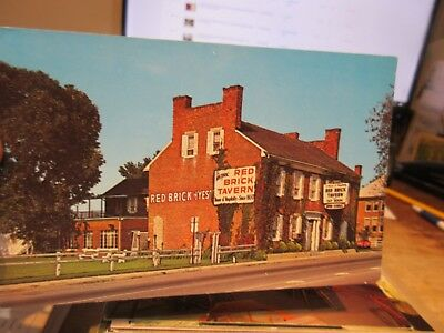 Vintage Old Postcard OHIO Red Brick Tavern London Lafayette Stage Coach Stop