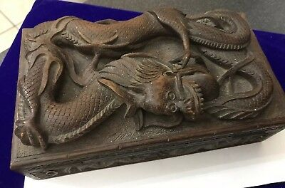 Vintage Large Oriental Chinese Japanese Carved Wood Wooden Oriental Dragon Box