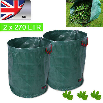 2 Large Reusable Yard Garden Leaf Waste Bag Durable Sack Collapsible Container