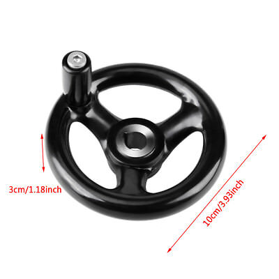Black Round 3-Spoke Hand Wheel for Lathe Milling Grinder Removable Handle new ly