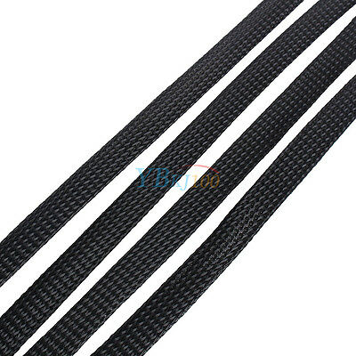 Black 4/6/8/10mm Expandable Braided PET Sleeving Cable High Densely ly