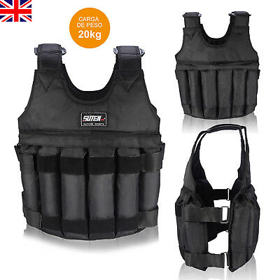 Adjustable Max Load 20kg Weighted Vest / Jacket Exercise Training Waistcoat New
