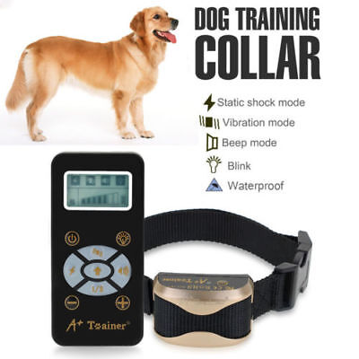 Electric Pet Dog Training Collar 800-Yard Remote Rechargeable LCD 100LV E-Shock