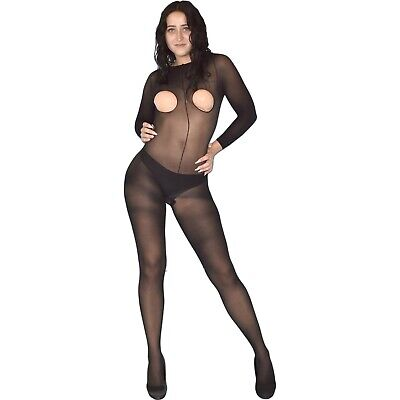 NYLON Ganzkörper Strumpfhose* Gr. S * Brust ouvert Bodystocking Catsuit Overall