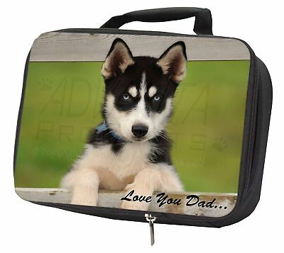 Husky Pup 'Love You Dad' Black Insulated School Lunch Box Bag, DAD-56LBB