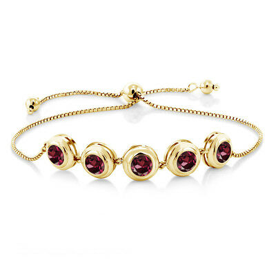 5.00 Ct Round Red Rhodolite Garnet 18K Yellow Gold Plated Silver Bracelet