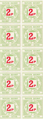 (A20243) GB MNH 2p Talyllyn Railway Letter stamps block of 10 1978